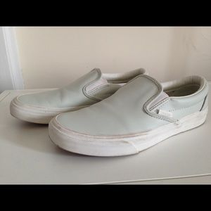 ab0dcd6ab501 Vans Shoes - Vans Mint Green Leather Slip Ons